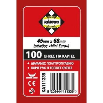 100 Θήκες Για Κάρτες Sleeves Μέγεθος Mini Euro 45mm X 68mm