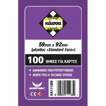 100 Θήκες Για Κάρτες Sleeves Μέγεθος Standard Euro 59mm X 92mm
