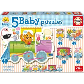 Educa Παζλ 3+4+5τεμ. Baby Puzzles Animals Train 17142