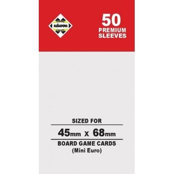 50 Θήκες Για Κάρτες Sleeves Μέγεθος Mini Euro 45mm X 68mm