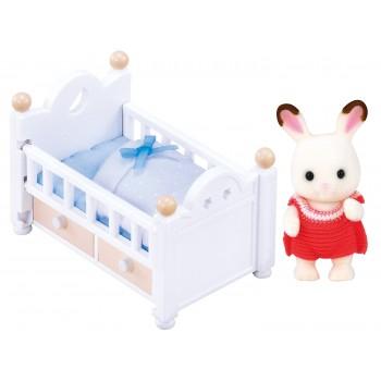 Sylvanian Families Chocolate Rabbit Baby Set Baby Bed 5017