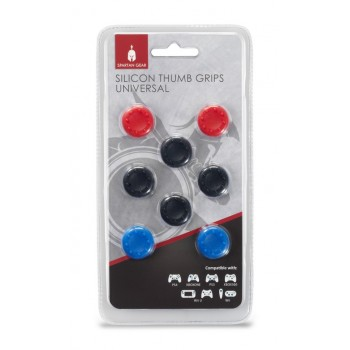 Spartan Gear Silicon Thumb Grips Universal (8pcs - Colour: 4pcs Black, 2pcs Red, 2pcs Blue - Compatible With: Ps4, Xboxone, Ps3, Xbox360, wii u, Switch)