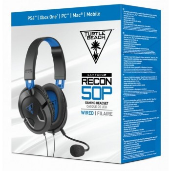 Turtle Beach Ear Force Recon 50P Wired Gaming Headset Black-Blue PS4,Xbox One*,PC** (TBS-3303-02)