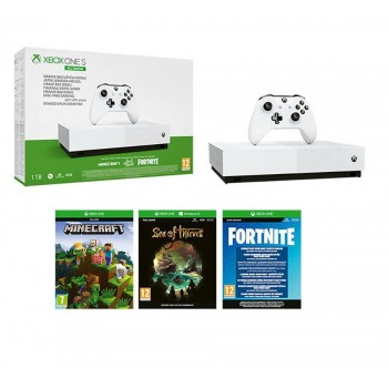 Console Microsoft Xbox One S All-Digital Edition V2 1TB & Minecraft & Fortnite & Sea of Thieves (Δεν Παίζει Φυσικούς Δίσκους)