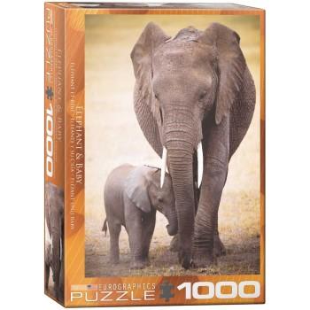Eurographics Πάζλ 1000τεμ. 6000-0270 Elephant & Baby Save Planet Collection