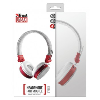 Trust (20073) Urban Fyber Headphone For Mobile Smartphone & Tablet Grey/Red