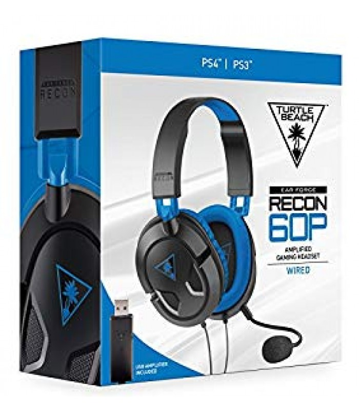Turtle Beach Ear Force Recon 60P Wired USB Amplified Gaming Headset (Black) PS4,PS3 (TBS-3308-02)